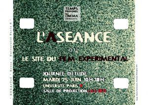 L'aséance ou le site du film expérimental @ Salle de projection bleue nuit tropicale A1 181 (Bâtiment A), Université Paris 8 Vincennes - Saint-Denis